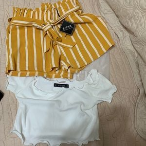 Women's casual summer outfit; shirts and top set